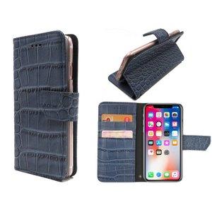 iPhone X Bookcase Hoesje Krokodil Leder Blauw