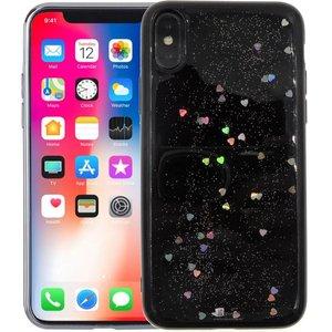 iPhone X Glitter Hoesje Siliconen Hartjes Zwart