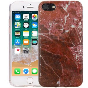 Marmer iPhone 8/7 Hoesje Marble Rood Siliconen