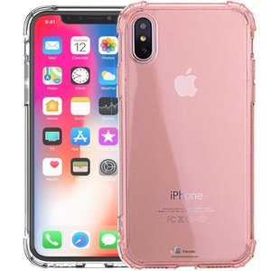 iParts4u Shockproof iPhone Xr Hoesje Siliconen Bumper Roze Transparant