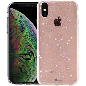 iPhone Xs Max Glitter Hoesje Sterretjes Transparant