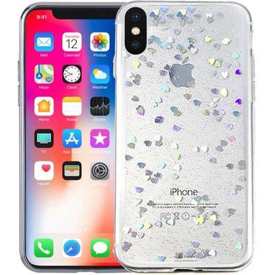 iPhone Xr Glitter Hoesje Hartjes Transparant