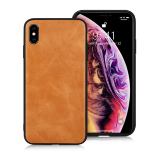 Jison Lederen Back Cover iPhone X/XS - Bruin