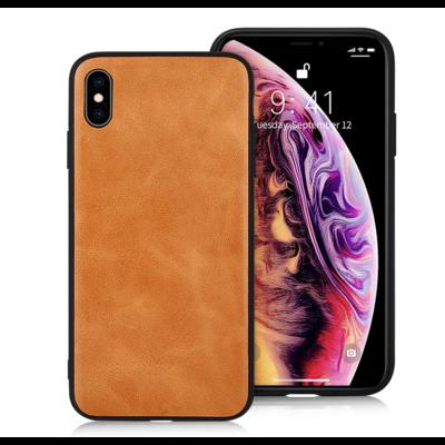 Jison Lederen Back Cover iPhone X/XS - Bruin