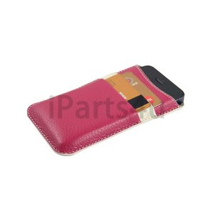 Lederen iPhone 5, 5S en SE  Pouch Card Sleeve Roze