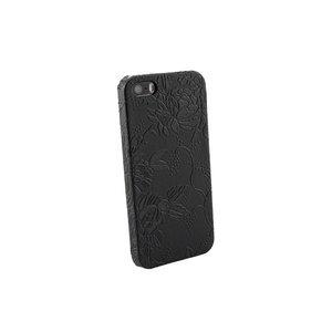 iPhone 5 en 5S Hardcover Hoesje Bloemen zwart