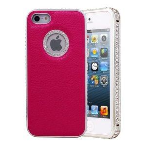 Leren iPhone 5/5S Logo Snap Case Hoesje Roze Diamantjes Zilver