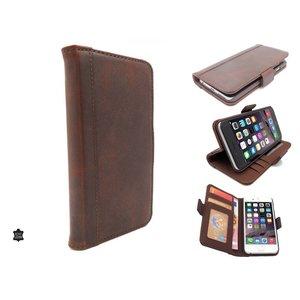 Luxe Lederen Vintage Bookcase Boek Hoesje iPhone 6 en 6S Bruin