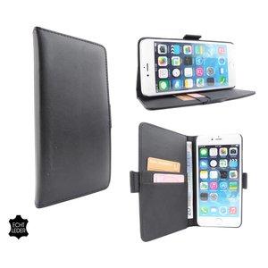 Luxe Lederen Bookcase Boek Hoesje iPhone 6 Plus Zwart