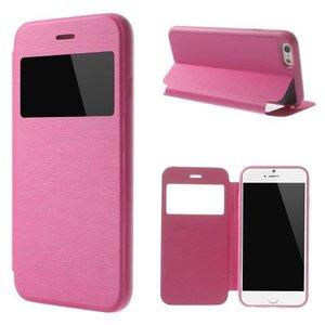 Leder Bookcase Boek Hoesje iPhone 6 Plus met Kijkvenster Roze