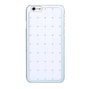 iPhone 6 en 6S Hardcover Case Hoesje Vierkant Diamantjes/Strass Zilver