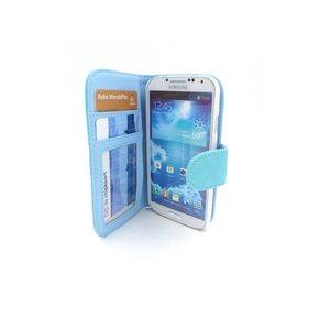 Leder wallet bookcase boek hoesje Samsung Galaxy S4 Blauw