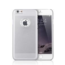 iPhone 6 en 6S Aluminium logo Snap Case Hoesje Diamantjes Zilver