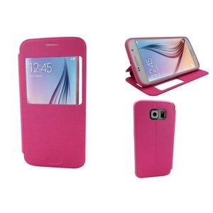 Samsung Galaxy S6 Bookcase Leder Kijkvenster Roze