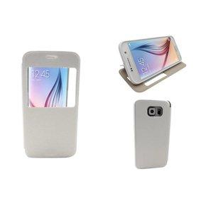 Samsung Galaxy S6 Leder Book Case Boek Hoesje Kijkvenster Wit