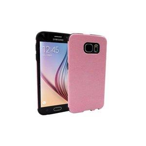Samsung Galaxy S6 Siliconen Gel Hoesje Leder Look Roze