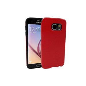Samsung Galaxy S6 Siliconen Gel Hoesje Leder Look Rood