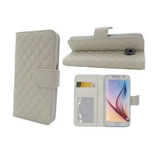 Samsung Galaxy S6 Lederen Wallet Bookcase Boek Hoesje Wit