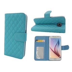 Samsung Galaxy S6 Lederen Wallet Bookcase Boek Hoesje Blauw