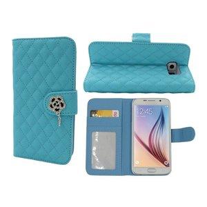 Samsung Galaxy S6 Lederen Boek Hoesje Met Diamant Roos Blauw