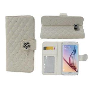 Samsung Galaxy S6 Lederen Boek Hoesje Met Diamant Roos Wit