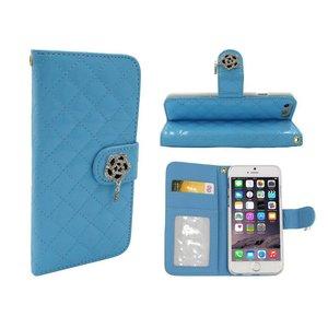 iPhone 6 en 6S Lederen Lak Bookcase Boek Hoesje Diamanten Roos Blauw