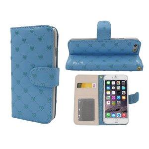 iPhone 6 en 6S Lederen Lak Boek Hoesje Ruitjes Motief Hartjes Blauw