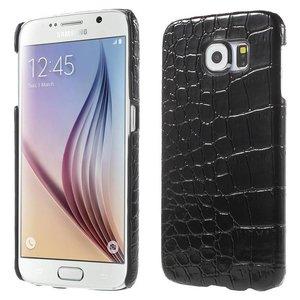 Samsung Galaxy S6 Backcover Krokodillen Print Zwart