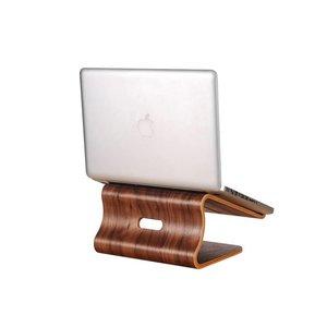MacBook Standaard Donker Bamboe Hout Walnoot