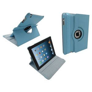 iPad 2/3/4 Leder Hoes Draaibaar 360 Graden Licht Blauw