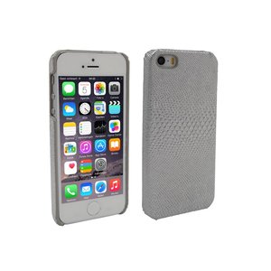 iPhone 5 en 5S Hoesje Hardcover Slangenprint Zilver