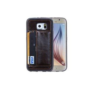 Samsung Galaxy S6 Hoesje Siliconen Leder Pas Houder Bruin