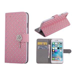 iPhone 6/6S Bookcase Hoesje Diamantjes Roos Roze