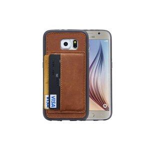 Samsung Galaxy S6 Hoesje Siliconen Pasjes Cognac