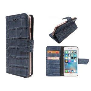 iPhone 6/6S Bookcase Hoesje Krokodil Leder Blauw