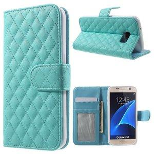 Samsung Galaxy S7 Bookcase Hoesje Ruit Blauw