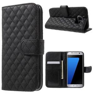 Samsung Galaxy S7 Edge Bookcase Hoesje Ruit Zwart