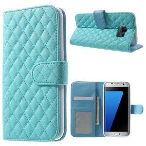 Samsung Galaxy S7 Edge Bookcase Ruit Blauw