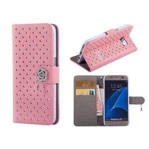 Samsung Galaxy S7 Bookcase Hoesje Diamant Roze