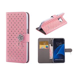 Samsung Galaxy S7 Edge Bookcase Diamantjes Roze