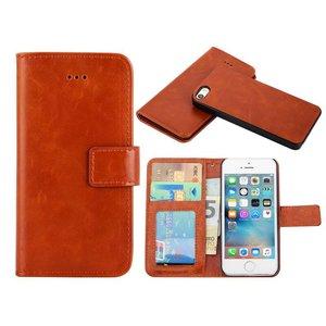 iPhone SE/5S/5 Bookcase Hoesje Uitneembaar Bruin