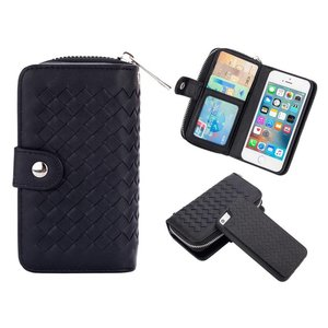 iPhone SE/5S/5 Portemonnee Clutch Gevlochten Zwart