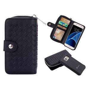 Samsung Galaxy S7 Portemonnee Clutch Gevlochten Zwart