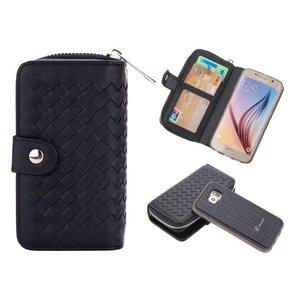 Samsung Galaxy S6 Clutch Gevlochten Zwart Leder