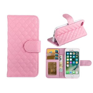iPhone 8/7 Bookcase Hoesje Wallet Ruitjes Roze