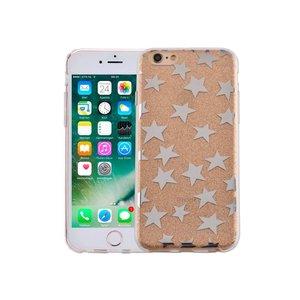 iPhone 6 en 6S Hardcase Glitter Sterretjes Goud