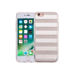 iPhone 6 en 6S Hardcase Glitter Strepen Zilver