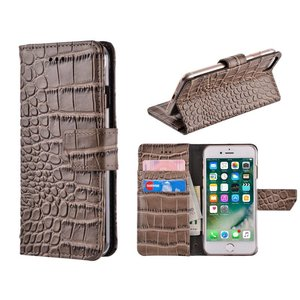 iPhone 8 / 7 Bookcase Hoesje Krokodil Leder Bruin