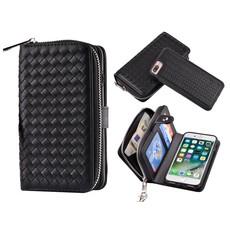 iPhone 8/7 Plus Portemonnee Clutch Gevlochten Zwart