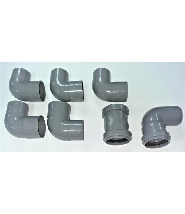 Flexibele sifon van PVC voor drains met onderuitloop